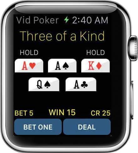 Auf der Apple Watch Sport kann man Video Poker jetzt um echtes Geld Spielen