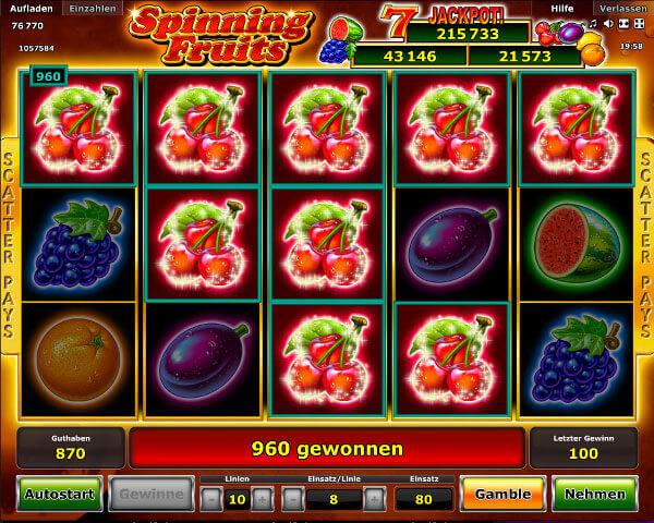 Stargames ist ein sicheres Casino, wo Du Spinning Fruits in Deutsch spielen können, mit Ihrer Wahl der Währung.